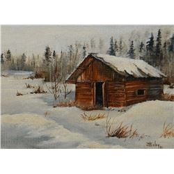 """Framed oil on board painting of a small rural out building signed by artist Joan Healey '80, 4"""" X 4"""