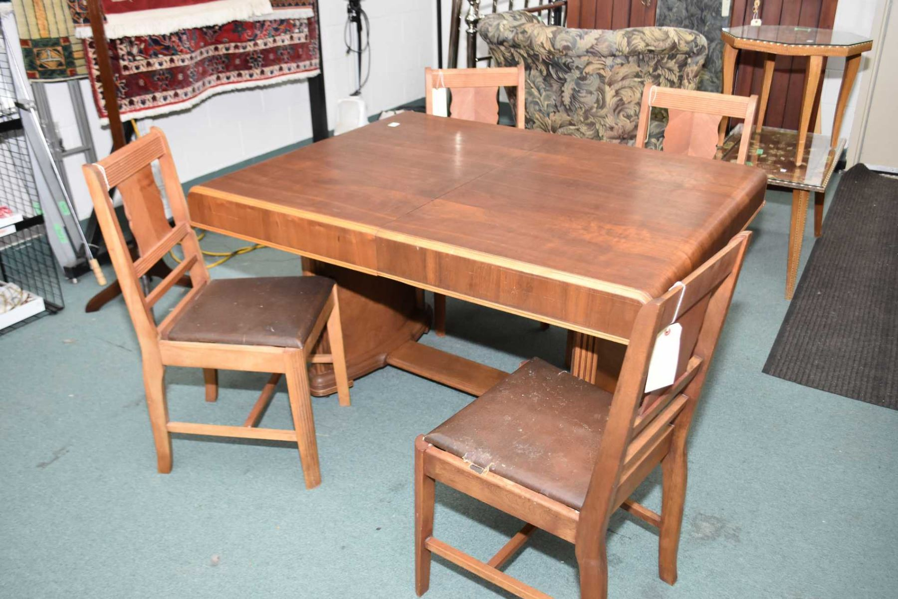 Prime Art Deco Waterfall Walnut Dining Table With Jack Knife Leaf And Download Free Architecture Designs Momecebritishbridgeorg