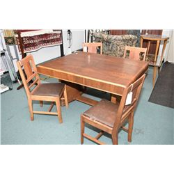 Art Deco waterfall walnut dining table with jack knife leaf and four dining chairs