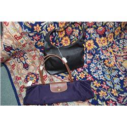 Vintage Longchamps black leather shoulder bag and a leather and nylon Longchamps Le Pliage shopping