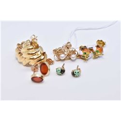 Five pairs of gold earrings including 14kt yellow gold and pearl, tested 14kt gold hoops, small enam