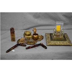 Selection of desk top accessories including Oriental soapstone seal, Rococo style inkwell and pen ho