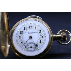 "New York Standard size ""6"", 11 jewel pocket watch, serial # 514684, dates to 1894. 3/4 nickel plate"