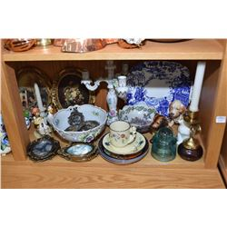 """Selection of collectibles including 10 1/2"""" Lladro geisha figurine, German hand painted porcelain fo"""