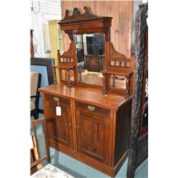 Antique walnut sideboard with two drawer and two door base and tall backboard with three bevelled mi
