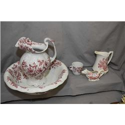 """Three piece Dudson Wilcox & Till """"Anemone"""" wash bowl, water jug and cup plus a Alfred Meakin pitcher"""