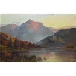 Framed oil on canvas painting of the Scottish highlands signed by artist F.E. Jamieson 1895-1950, 16