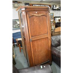 Art deco single door oak wardrobe, currently fitted with shelves
