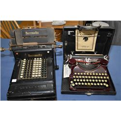 Vintage Burroughs Class 3 full keyboard adding machine circa 1915, serial #3-975748 and a vintage Co