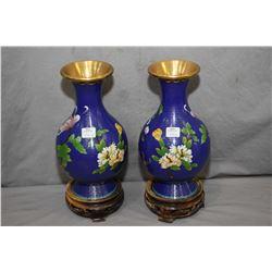 "Pair of 10 1/2"" Cloisonn' vases plus two carved rosewood plinths"