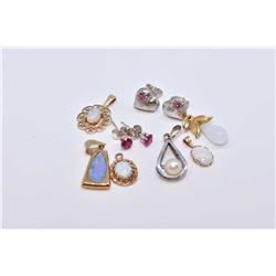 Selection of jewellery including genuine opal pendants, sterling silver earrings, pearl pendant etc.