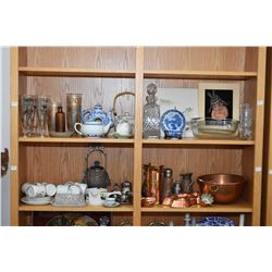 Two shelf lots of collectibles including copper bowl, pickle castor, teapots, syrup pitchers etc.