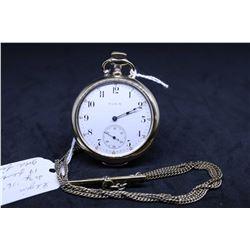 "Elgin size ""16"", 17 jewel, grade 244, model 7 pocket watch. Serial # 11634272, dates to 1905. Nickel"