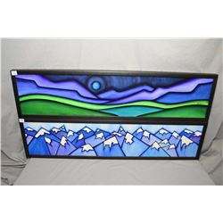 Three framed original pieces of wall art including two stylized sunsets signed by artist Bernadette,
