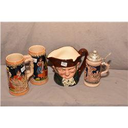 Three German steins and Royal Doulton character jug Old Charley D5420