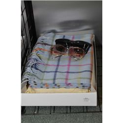 Coach 100% Cashmere scarf and a Cashmere and silk shawl plus two pairs of designers sunglasses incul