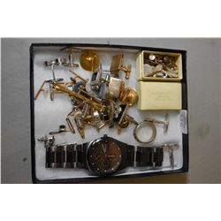 Selection of gent's jewellery including Bering ceramic wrist watch, plus a selection of cufflinks, t