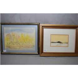 """Three framed original artworks including small watercolour titled on verso """"A Quiet Place"""" signed by"""