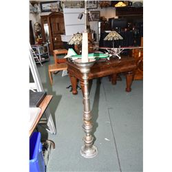 Vintage turned style pewter electric floor lamp