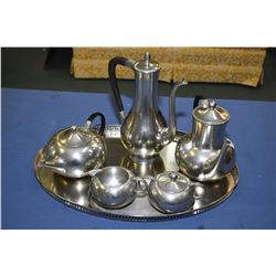 Selection of vintage Royal Holland pewter including, coffee pot, hot water and teapot, plus cream, l
