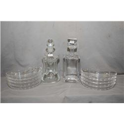 Eight Val St. Lambert crystal salad plates, a Costa Swedish crystal square decanter and a Danish mid