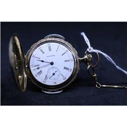 """Waltham size """"6"""", 15 jewel grade Seaside pocket watch, serial # 8739331, dated 1898. 3/4 nickel spli"""