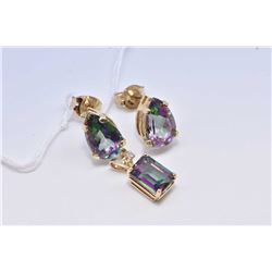 Lady's 14kt yellow gold and pear shaped mystic topaz gemstone earrings and a 14kt yellow gold, mysti