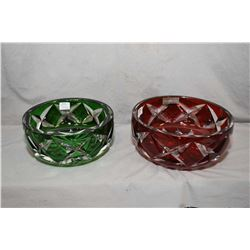 """Two pieces of French Saint Louis crystal including ruby cut to clear 9"""" in diameter bowl and a emera"""