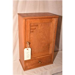 """Art deco oak medicine cabinet with inside shelves and bottom drawer, circa 1935, 20"""" in height"""