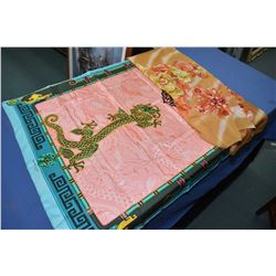 Two Cartier 100% silk scarves including Chinese dragon motif and silk chiffon berry motif scarf