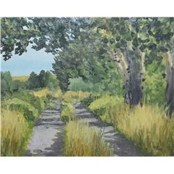 """Framed acrylic on board painting of an abandoned road signed by artist Crane Thomas '93, 11"""" X 13"""""""