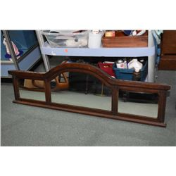 """Antique oak framed three panel mirror with arched center section. Overall dimensions 17"""" x 52"""""""