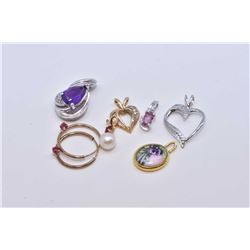 Selection of small necklace pendants including 10kt white gold with pear shaped amethyst gemstone, s