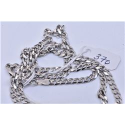 """Italian made 10kt white gold 24"""" curb chain marked 417"""