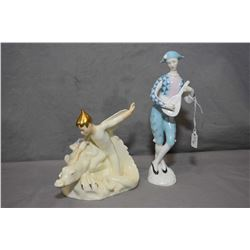 Two Royal Doulton figurines including Magic Dragon HN2977 from the Enchantment Collection and Harleq