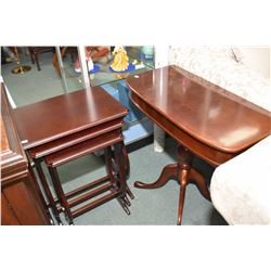 Set of three Bombay Co. Ltd. nesting tables and a center pedestal flat to the wall console table