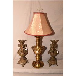 """Pair of 17"""" cast cherub motif candlesticks and a heavy brass """"Sunset Lamp Co."""" table lamp with shade"""