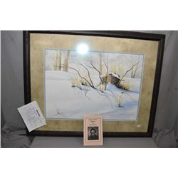 """Framed watercolour painting titled """"Snow Crowned Tree Stump"""" signed by artist Joyce Cornelson, 20"""" X"""