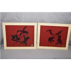 "Two vintage unframed Eskimo artworks on burlap signed Kalvak with original Kolman ""Handmade by Eskim"