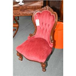 Antique mahogany framed channel back lady's parlour chair with velvet button tufted upholstery