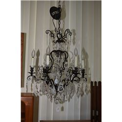 Top quality Rococo style crystal and wrought iron six branch chandelier