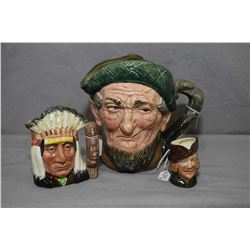 Three Royal Doulton character jugs including large Auld Mac, plus small American Indian D6614 and mi