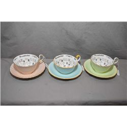 """Three Aynsley """"Cup of Knowledge"""" tea cups and saucers"""