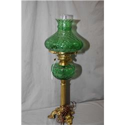 Vintage oil lamp converted to electric with green glass font and shade on brass base