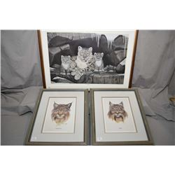 """Three framed limited edition prints including """"Bobcat"""", 7/200, """"Canada Lynx"""", 7/200 and """"The Intrusi"""