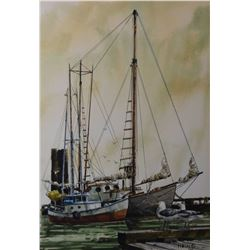 """Framed original watercolour painting of anchored fishing boats, signed Heine '72, 18"""" X 12"""""""