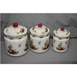 Royal Albert Old Country roses three piece canister set