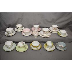 Selection of twelve collectible china cups and saucers including Aynsley, Paragon etc plus a Queen A
