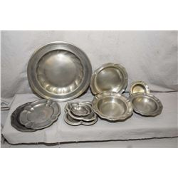 Ten pieces of vintage pewter including eight marked Finstain and two earlier pieces