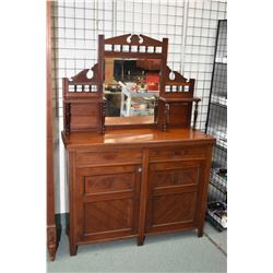 Antique European wardrobe with retro fitted mirrored side panels now housing four drawers and an ope